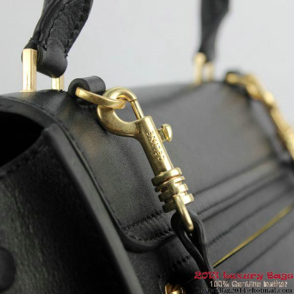 Celine 16954 Trapeze Top Handle Bag Original Leather Black
