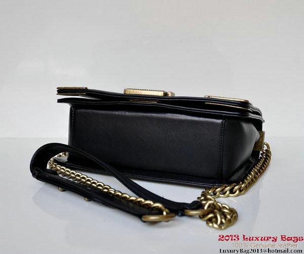 Boy Chanel Flap Shoulder Bag A67388 Black Calfskin Bronze