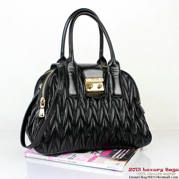 miu miu Bauletto Bag Matelasse Lamb Nappa Leather Top Handle RL0068 Black