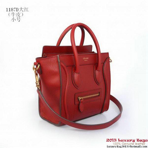 Celine Luggage Nano Shopper Bag Calfskin C1187D Red