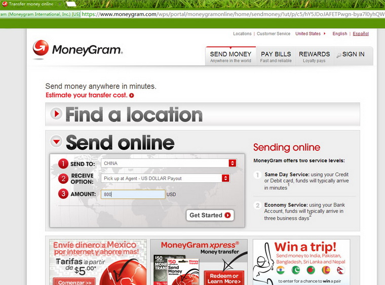 how to send money via moneygram uk