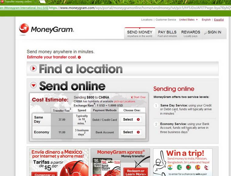 how to send money via moneygram fnb