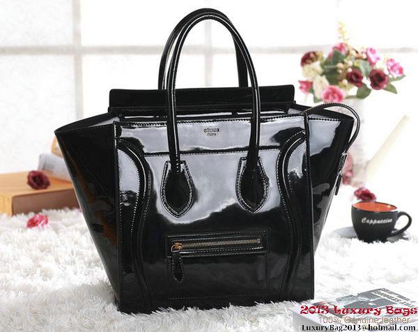 Celine Luggage Mini Boston Tote Bags Patent Leather Black
