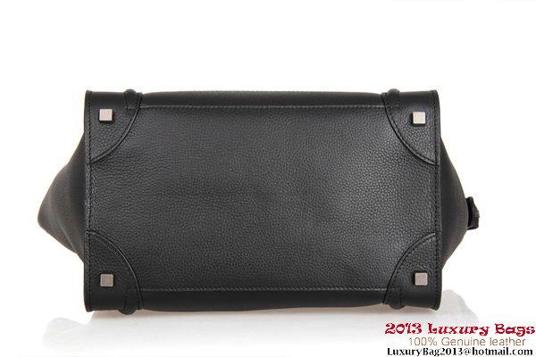 Celine Luggage Mini Tote Bag 88022 Black Fluorescence Leather