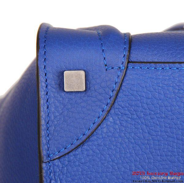 Celine Luggage Mini Tote Bag 88022 Blue Fluorescence Leather
