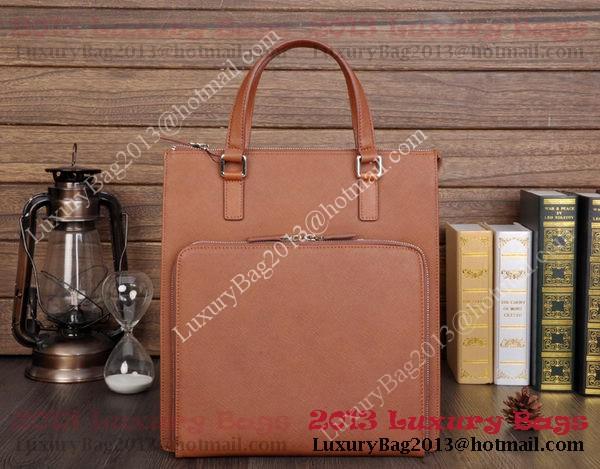 Prada Saffiano Calf Leather Tote Bag 80087-2 Brown