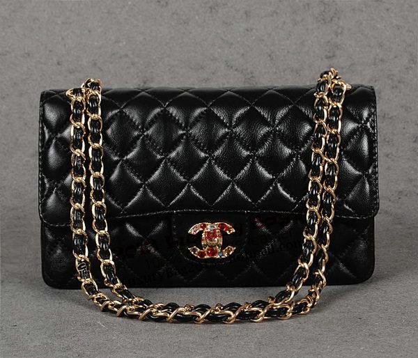 Chanel 2.55 Series Classic Flap Bag Black Sheepskin 1112 Multicolour