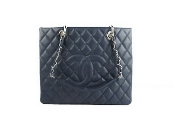 Chanel A50995 RoyalBlue Original Cannage Leather Shoulder Bag Silver