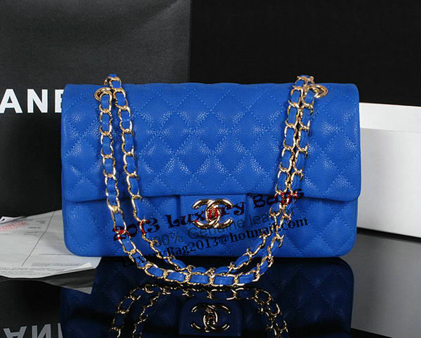 Chanel 2.55 Series Classic Flap Bag 1112 Blue Original Cannage Pattern Leather Gold