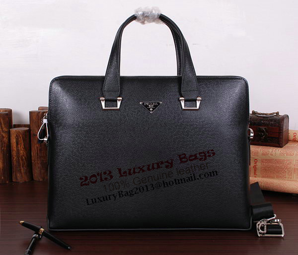Prada Saffiano Calf Leather Briefcase 21125 Black