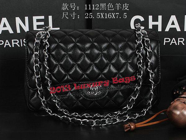 Chanel 2.55 Series Classic Flap Bag 1112 Black Sheepskin Silver