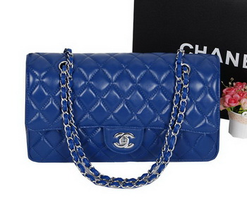 Chanel Classic Flap Bag 1113 RoyalBlue Sheepskin Leather Silver