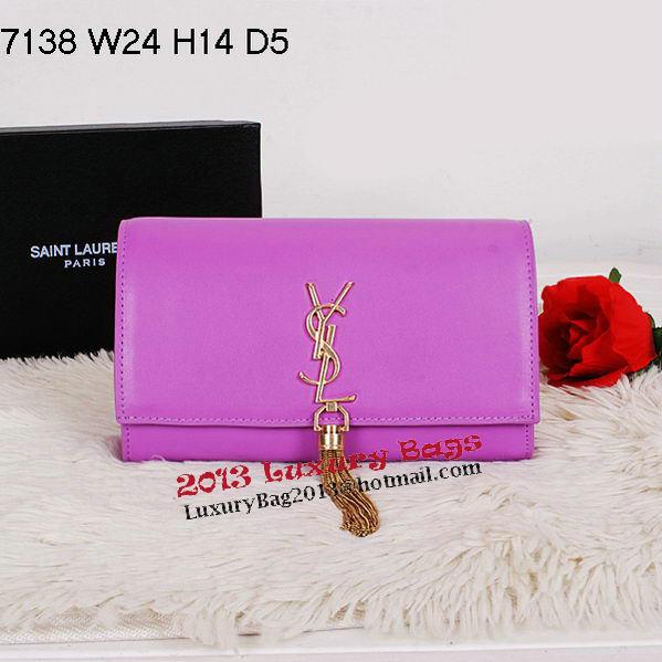 Yves Saint Laurent Classic Monogramme Tassel Clutch Bag Y7138 Purple