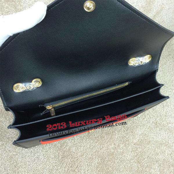 Celine Pocket Handbag Seashell Smooth Calfskin 175383 Black&Orange&Khaki