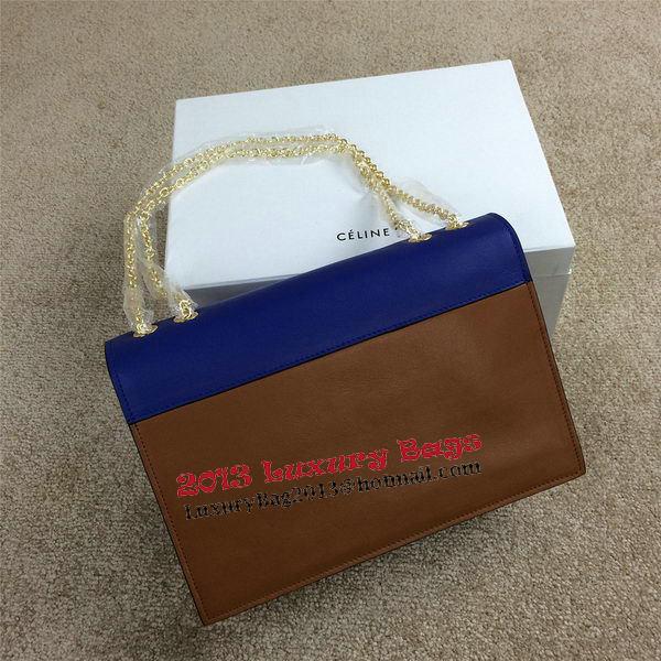 Celine Pocket Handbag Seashell Smooth Calfskin 175383 Brown&White&Royal
