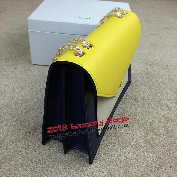 Celine Pocket Handbag Seashell Smooth Calfskin 175383 Royal&White&Yellow