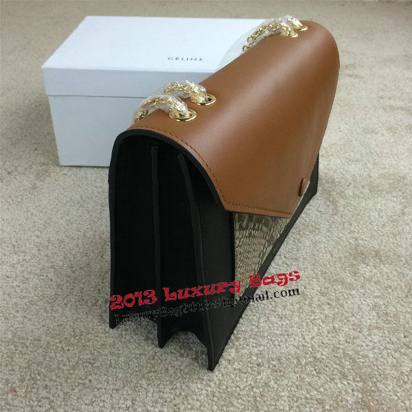 Celine Pocket Handbag Seashell Snake Leather 175383 Black&Green&Wheat