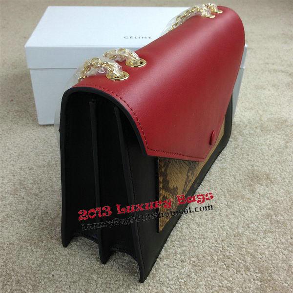 Celine Pocket Handbag Seashell Snake Leather 175383 Black&Wheat&Burgundy
