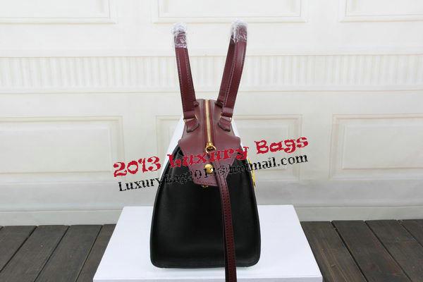 Celine Ring Bag Smooth Calfskin Leather 176203 White&Black&Maroon