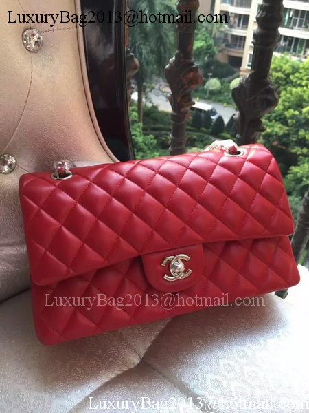 Chanel 2.55 Series Flap Bag Red Original Leather A01112 Silver
