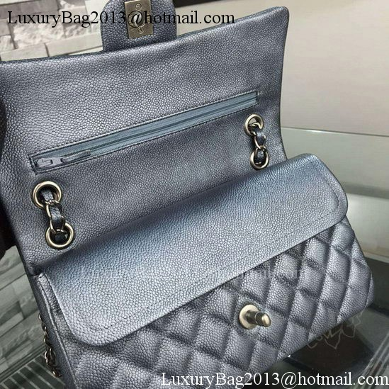Chanel 2.55 Series Flap Bag Black Cavier Leather A05480 Silver