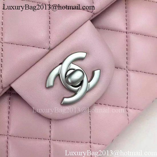 Chanel 2.55 Series Flap Bag Pink Sheepskin Leather A06375 Silver