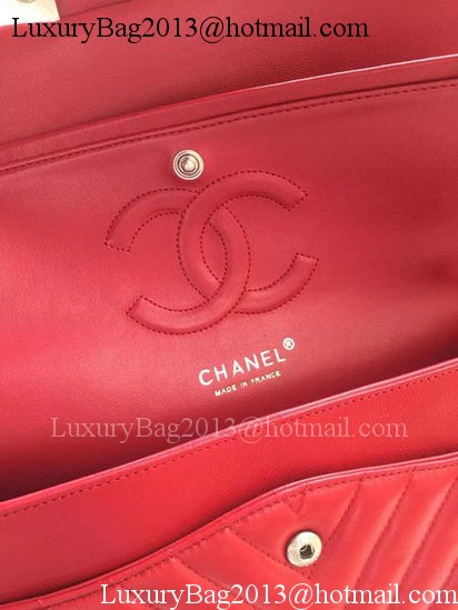 Chanel 2.55 Series Flap Bag Red Lambskin Chevron Leather A01112 Gold/Silver