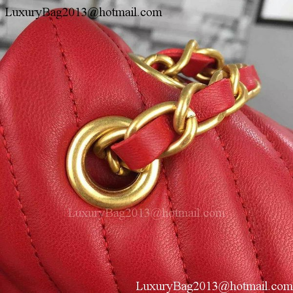 Chanel 2.55 Series Flap Bag Red Lambskin Chevron Leather A5023 Gold