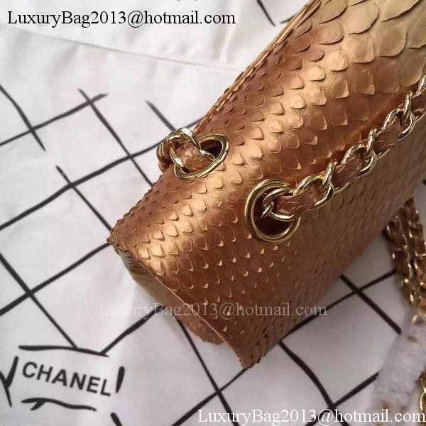 Chanel 2.55 Series Flap Bags Apricot Original Python Leather A1112SA Gold