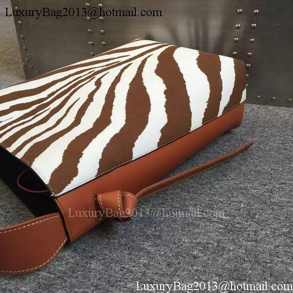 CELINE Twisted Cabas Bag C16211 Wheat&ZEBRA
