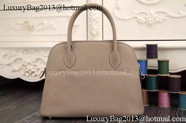 Hermes Bolide 37CM Calfskin Leather Tote Bag B1004 Light Grey