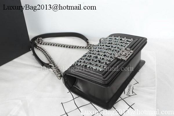 Boy Chanel Flap Bag Original SEQUIN Sheepskin A67025 Black