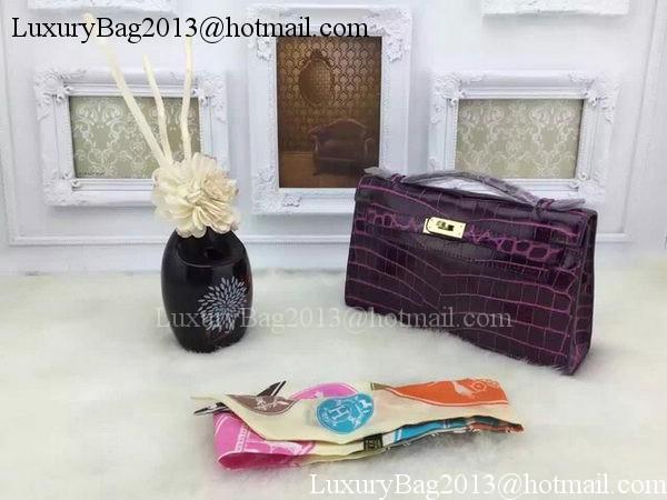 Hermes MINI Kelly 22cm Tote Bag Croco Leather KL22 Purple