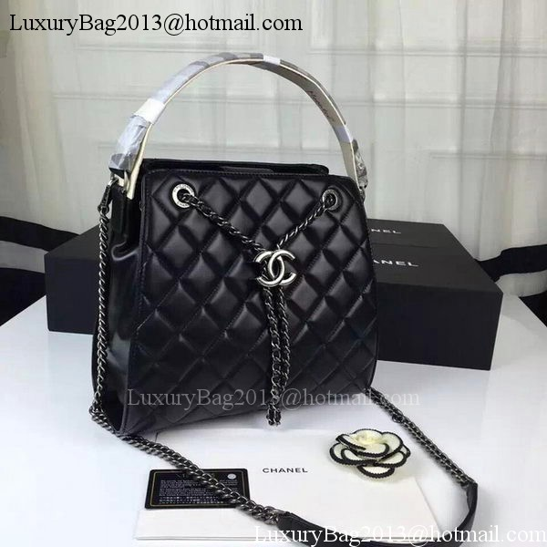 Chanel Hobo Bag Sheepskin Leather A0585 Black