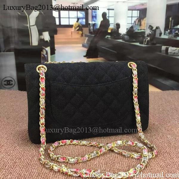 Chanel 2.55 Series Flap Bag Original Fabric Leather 1112E Black