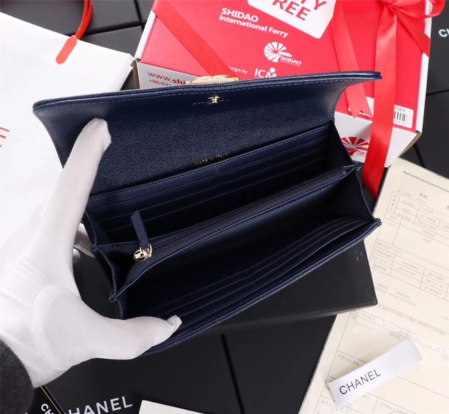 Chanel Calfskin Leather & Gold-Tone Metal A80286 blue