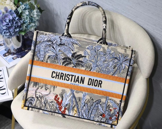 DIOR BOOK TOTE BAG IN EMBROIDERED CANVAS C1287 blue