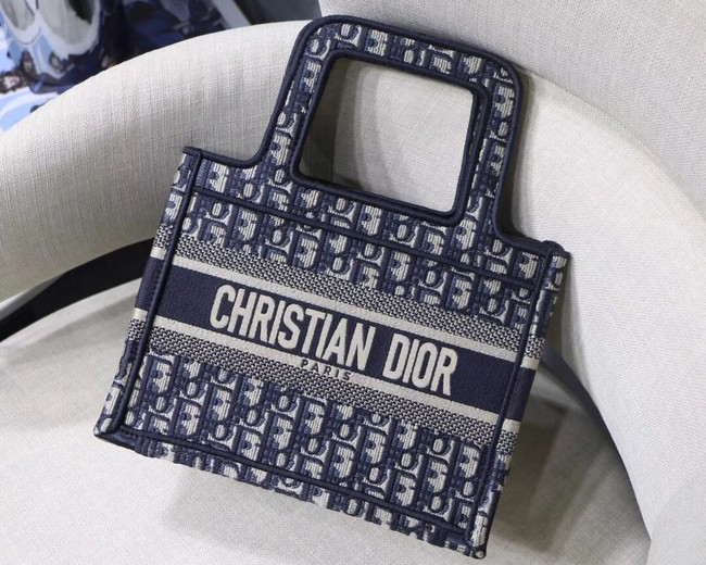 DIOR TOTE BAG IN EMBROIDERED CANVAS C1288 blue
