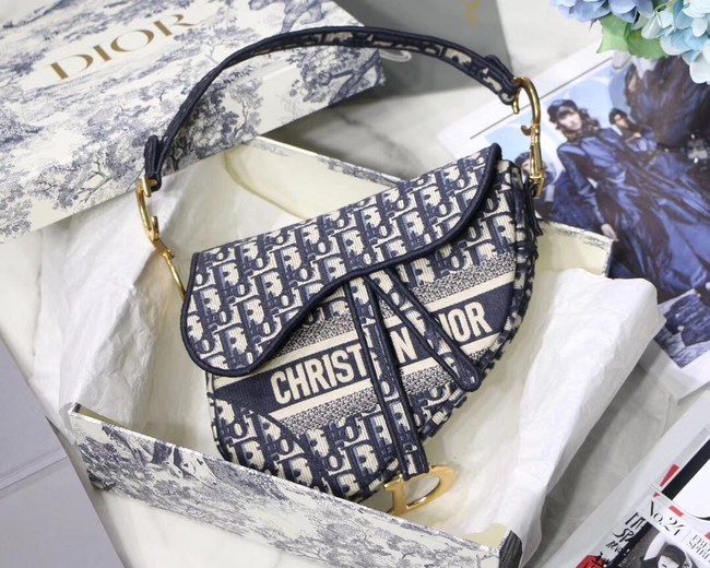 Dior SADDLE DENIM CANVAS BAG M928 denim blue