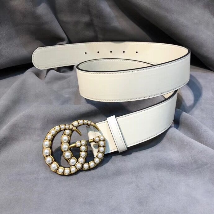 Gucci leather belt with pearl Double G 453261 white