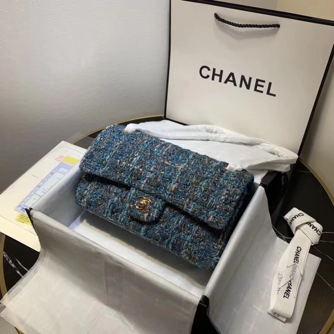 CHANEL Tweed Calfskin -Tone & Gold-Tone Metal 1112 blue