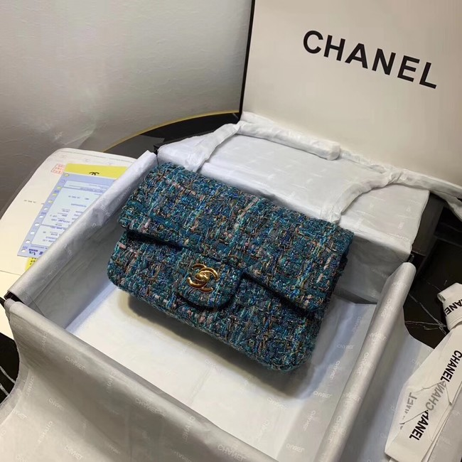 CHANEL Tweed Calfskin -Tone & Gold-Tone Metal 1116 blue