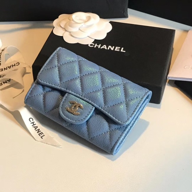 Chanel card holder Calfskin & Gold-Tone Metal A80799 blue