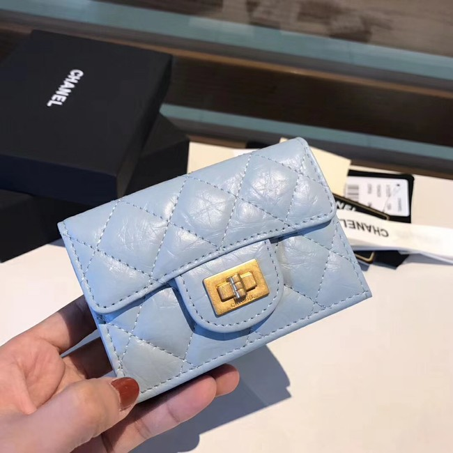 Chanel classic wallet Calfskin & Gold-Tone Metal A80234 light blue