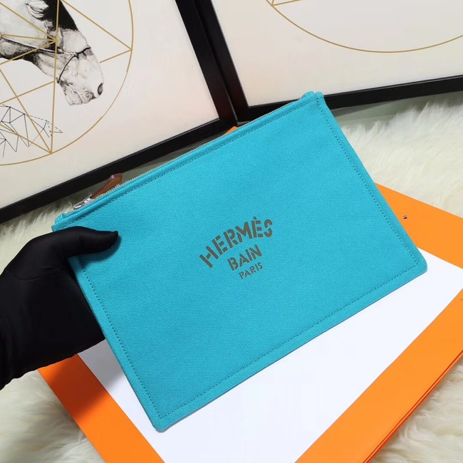 Hermes Cosmetic Bag H3700 Light Blue