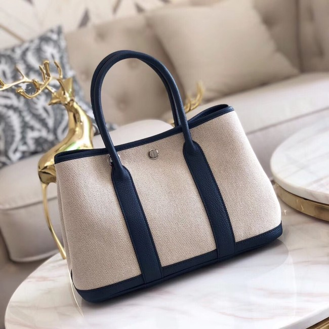 Hermes Garden Party 36cm Tote Bags Original Leather H3698 Dark Blue
