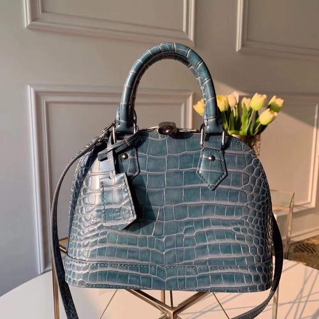 Louis Vuitton Crocodile Pattern Leather Bag N90897 Blue