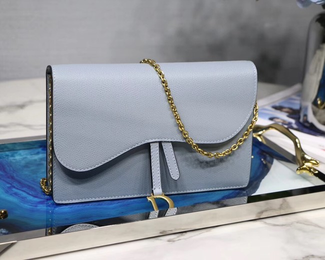 Dior SADDLE DIOR OBLIQUE Chain Clutch bag S5614 light blue