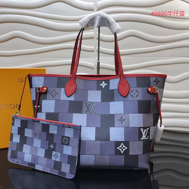 Louis vuitton original monogram canvas NEVERFULL MM M40995 blue