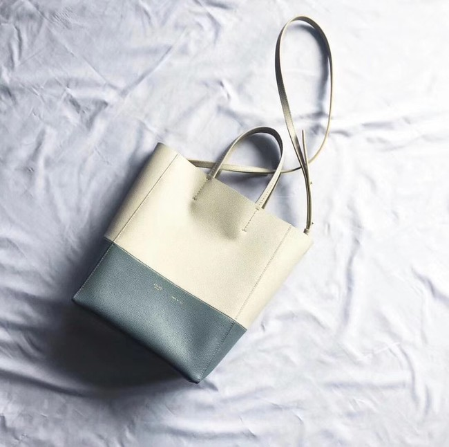 Celine Original Leather CABAS Bag 189813 White&Blue
